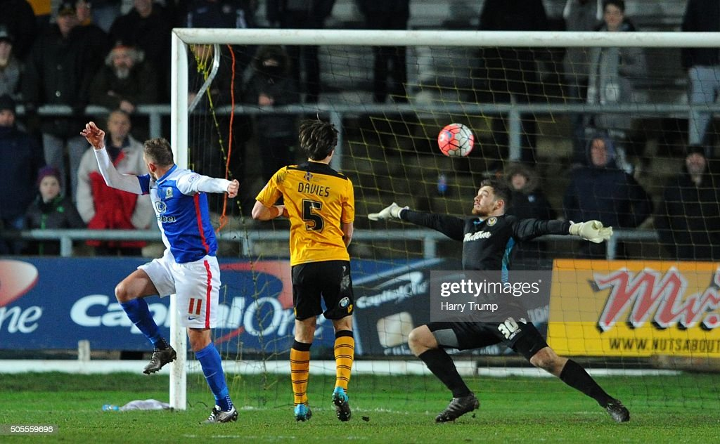 Jordan Rhodes of Blackburn Rovers(L) scores his sides second goal during the Emirates FA Cup Third Round match between Newport County and Blackburn Rovers at Rodney Parade on January 18, 2016 in Newport, Wales.