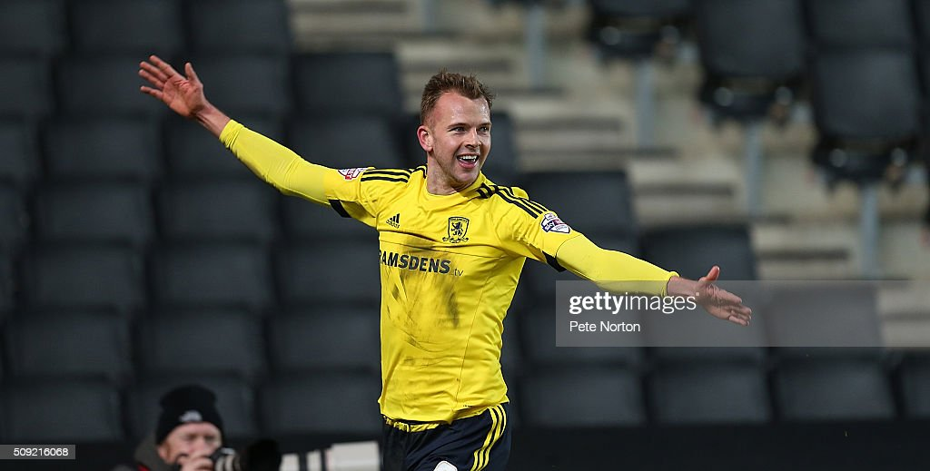 Jordan Rhodes of Middlesbrough celebrates after scoring his sides goal during the Sky Bet Championship match between Milton Keynes Dons and Middlesbrough at StadiumMK on February 9, 2016 in Milton Keynes, England.