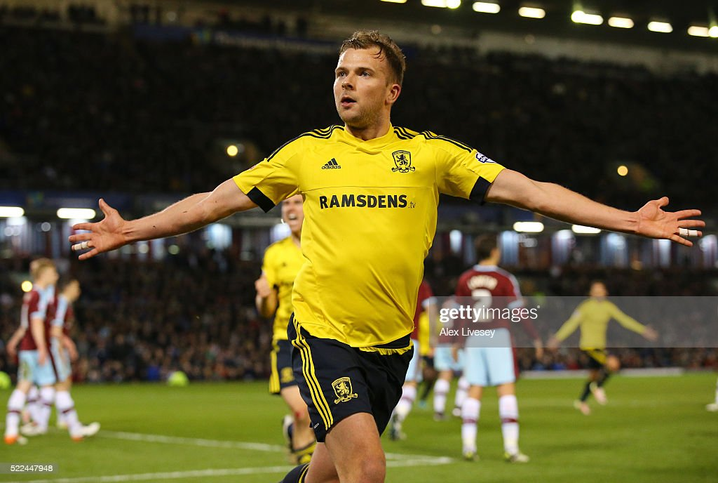 Jordan Rhodes of Middlesbrough celebrates after scoring the opening goal during the Sky Bet Championship match between Burnley and Middlesbrough at Turf Moor on April 19, 2016 in Burnley, United Kingdom.