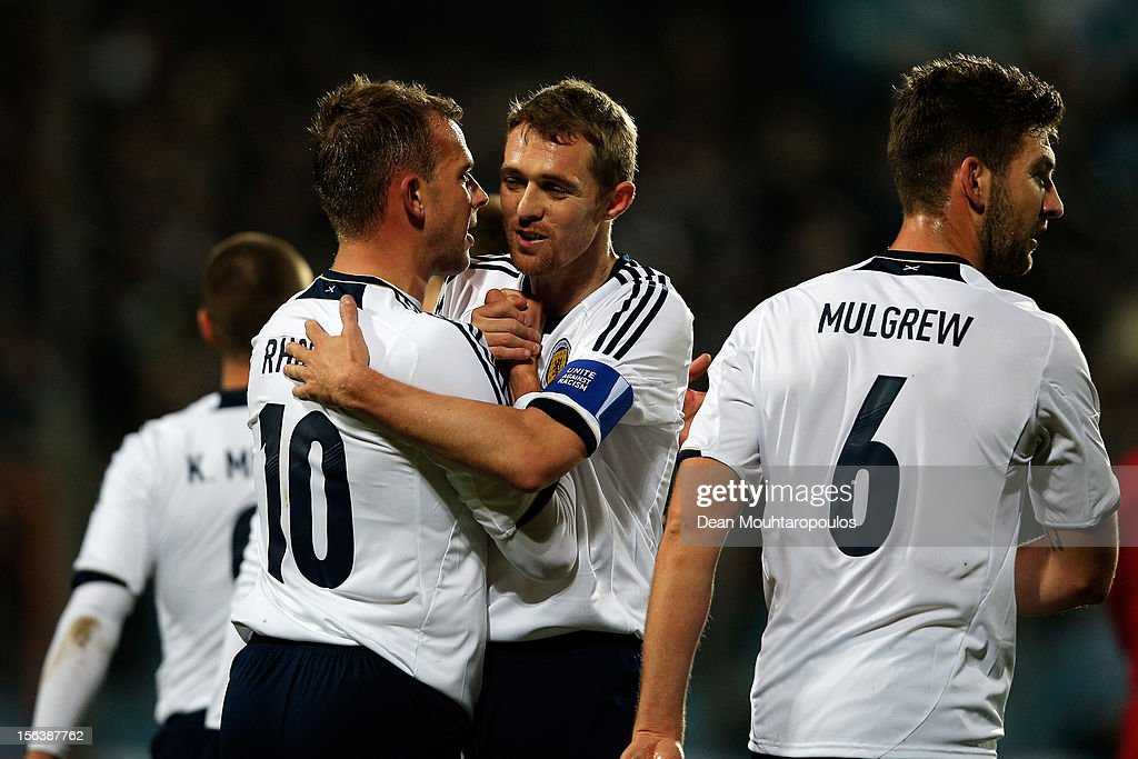Jordan Rhodes (#10) of Scotland celebrates after he scores the second goal of the game with captain Darren Fletcher during the International Friendly match between Luxembourg and Scotland at Stade Josy Barthel on November 14, 2012 in Luxembourg, Luxembourg.