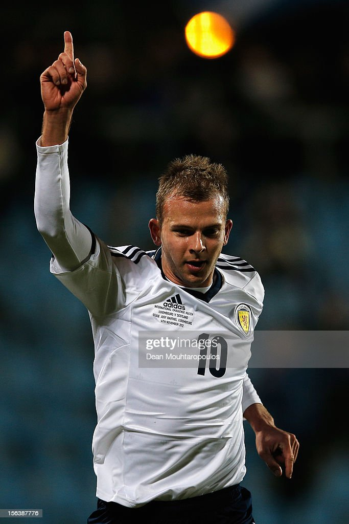 Jordan Rhodes (#10) of Scotland celebrates after he scores the second goal of the game during the International Friendly match between Luxembourg and Scotland at Stade Josy Barthel on November 14, 2012 in Luxembourg, Luxembourg.