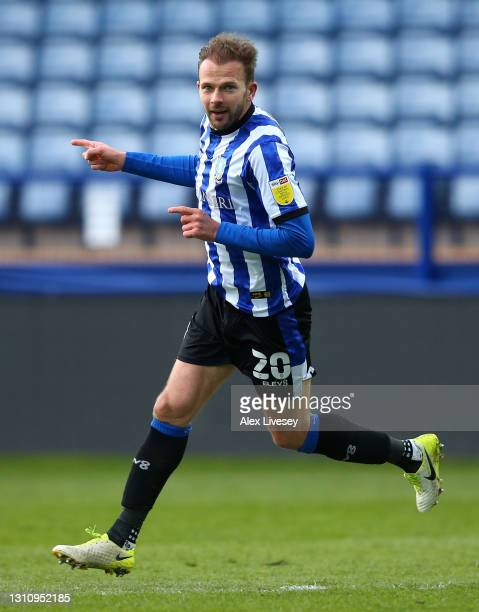 Jordan Rhodes of Sheffield Wednesday celebrates after scoring their side's fourth goal during the Sky Bet Championship match between Sheffield...