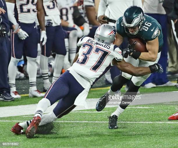 Jordan Richards of the New England Patriots hits Zach Ertz of the Philadelphia Eagles during Super Bowl Lll at US Bank Stadium on February 4 2018 in...