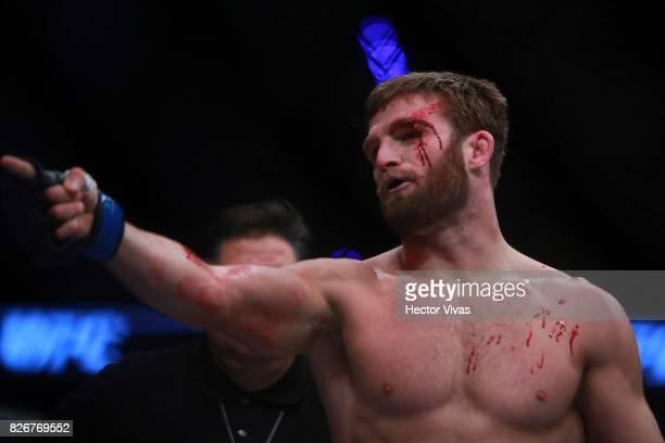 Jordan Rinaldi of United States celebrates his submission victory over Alvaro Herrera during the UFC Fight Night Mexico City at Arena Ciudad de...