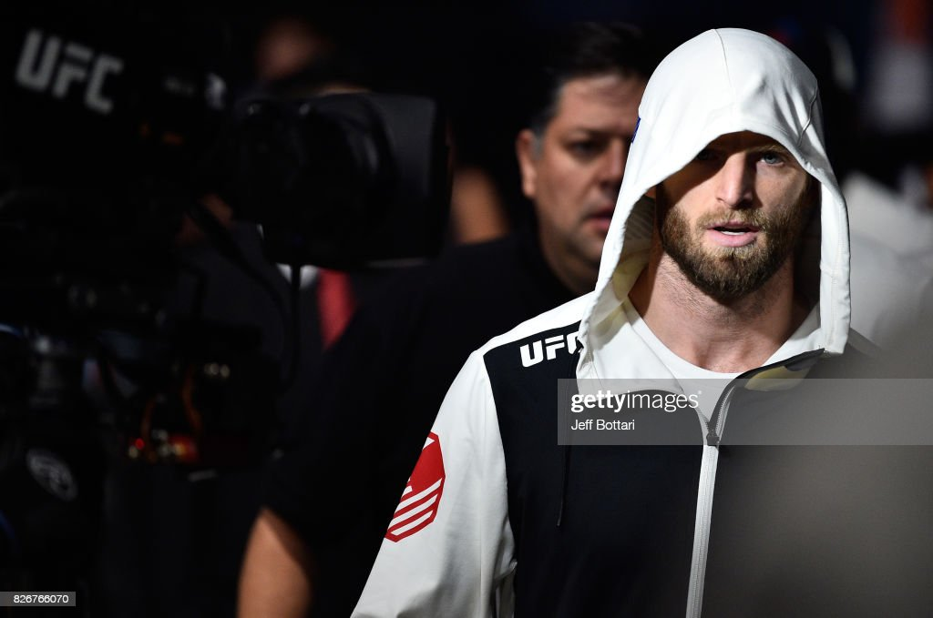Jordan Rinaldi prepares to enter the Octagon before facing Alvaro Herrera of Mexico in their welterweight bout during the UFC Fight Night event at Arena Ciudad de Mexico on August 5, 2017 in Mexico City, Mexico.