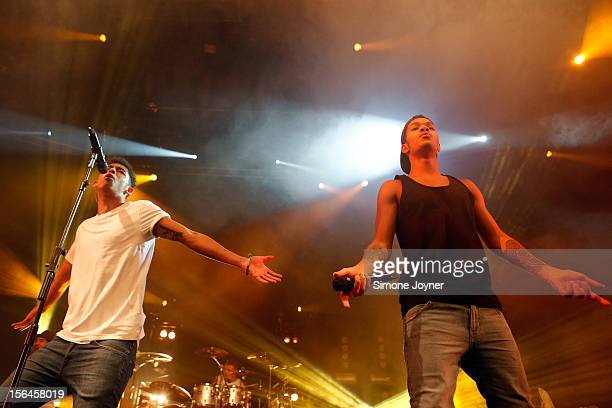Jordan 'Rizzle' Stephens and Harley 'Sylvester' AlexanderSule of Rizzle Kicks perform live on stage at The Roundhouse on November 15 2012 in London...