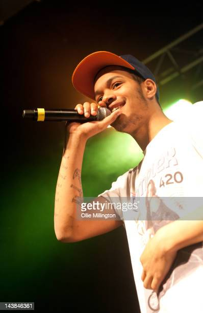 """Jordan """"Rizzle"""" Stephens of Rizzle Kicks performs onstage at O2 Academy Leicester on May 4, 2012 in Leicester, England."""
