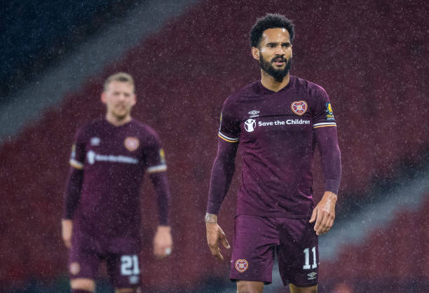 Jordan Roberts in action for Hearts during a Scottish Cup semi-final match between Hearts and Hibernian at Hampden Park, on October 31 in Glasgow,...