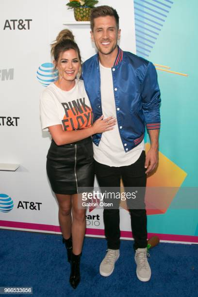 Jordan Rodgers and JoJo Fletcher arrive for iHeartRadio's KIIS FM Wango Tango By ATT at Banc of California Stadium on June 2 2018 in Los Angeles...