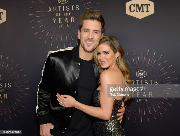 Jordan Rodgers and JoJo Fletcher attend the 2018 CMT Artists of The Year at Schermerhorn Symphony Center on October 17 2018 in Nashville Tennessee