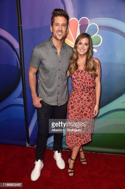 Jordan Rodgers and JoJo Fletcher attend the 2019 TCA NBC Press Tour Carpet at The Beverly Hilton Hotel on August 08 2019 in Beverly Hills California