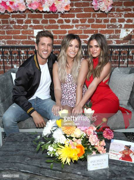 Jordan Rodgers Becca Tilley and Joelle Fletcher attend Fletch X Joelle Fletcher Launch Party at Beauty Essex on June 27 2018 in Los Angeles California