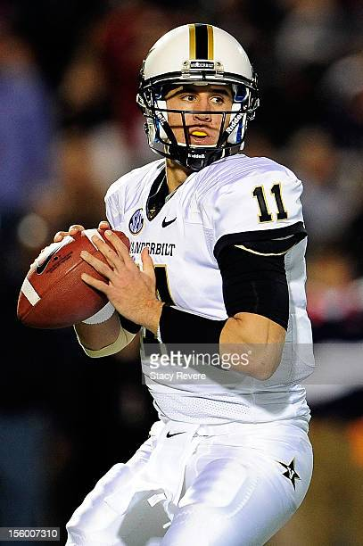 Jordan Rodgers of the Vanderbilt Commodores drops back to pass against the Ole Miss Rebels during a game at VaughtHemingway Stadium on November 10...