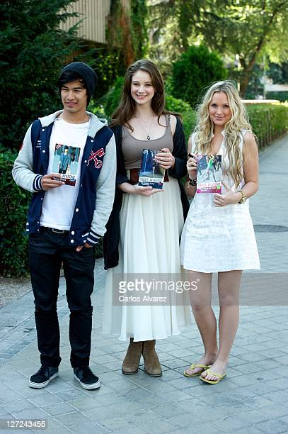 Jordan Rodrigues Xenia Goodwin and Alicia Banit attend 'Dance Academy' photocall on September 27 2011 in Madrid Spain