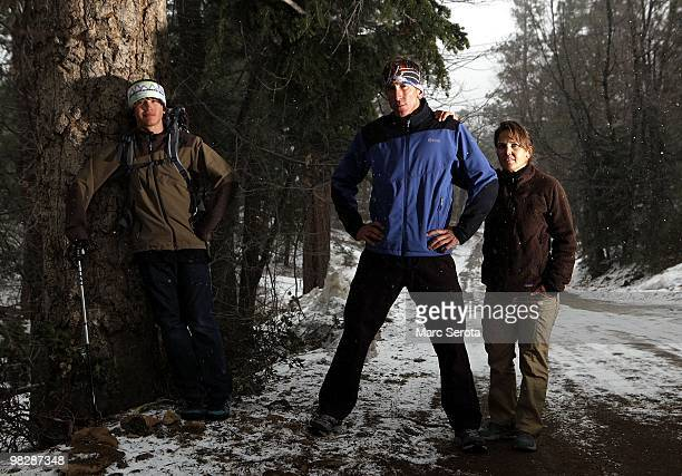 Jordan Romero 13 years old poses for a photo with his father Paul and his stepmother Karen Lundgren at his home in Big Bear Lake California on April...