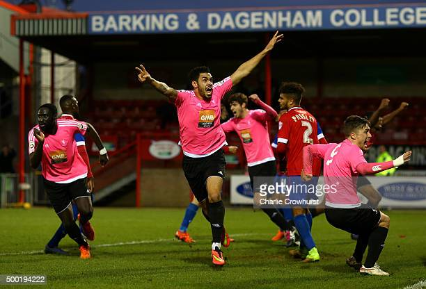 Jordan Rose of Whitehawk celebrates after he scores a last minute equaliser during the Emirates FA Cup Second Round match between Dagenham Redbridge...