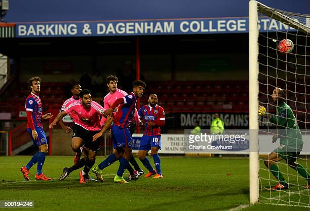 Jordan Rose of Whitehawk scores a last minute equaliser during the Emirates FA Cup Second Round match between Dagenham Redbridge and Whitehawk at The...