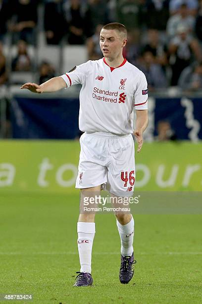 Jordan Rossiter for Liverpool FC during the Europa League game between FC Girondins de Bordeaux and Liverpool FC at Matmut Atlantique Stadium on...