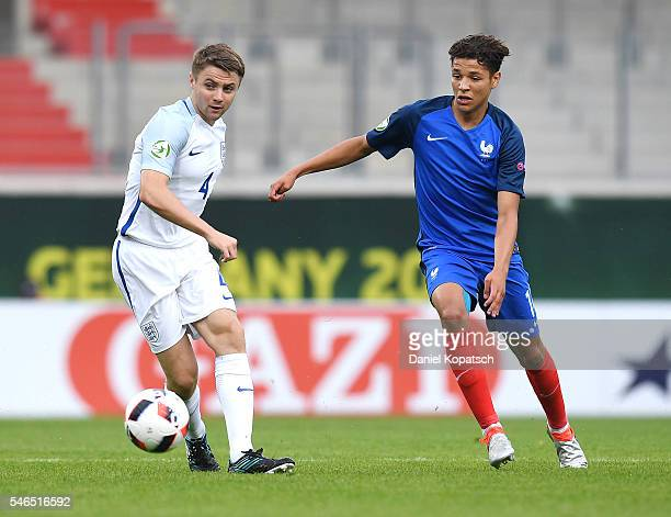 Jordan Rossiter of England is challenged by Amine Harit of France during the UEFA Under19 European Championship match between U19 France and U19...