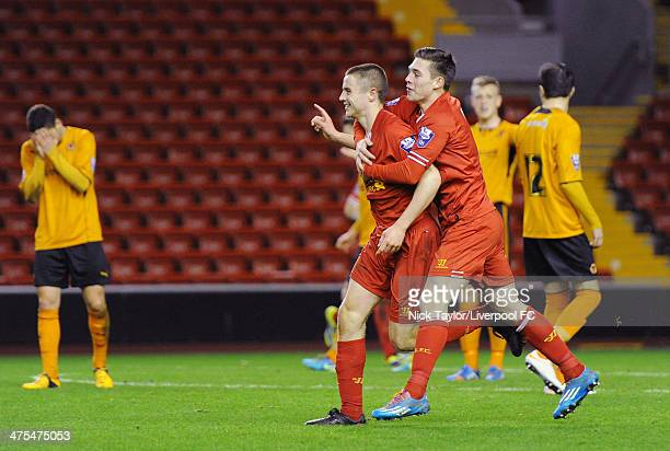 Jordan Rossiter of Liverpool celebrates his goal with Jack Dunn during the Barclays Premier League Under 21 fixture between Liverpool and...