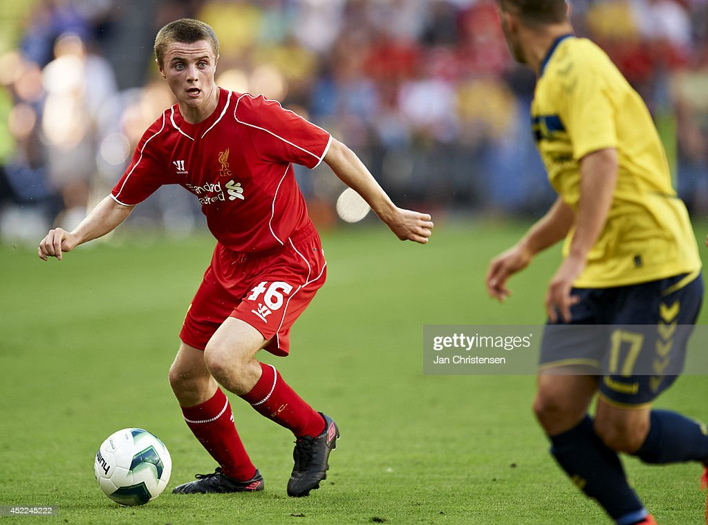 Jordan Rossiter of Liverpool FC in action during the Pre-Season Friendly match between Brondby IF and Liverpool FC at Brondby stadium on July 16, 2014 in Brondby, Denmark.