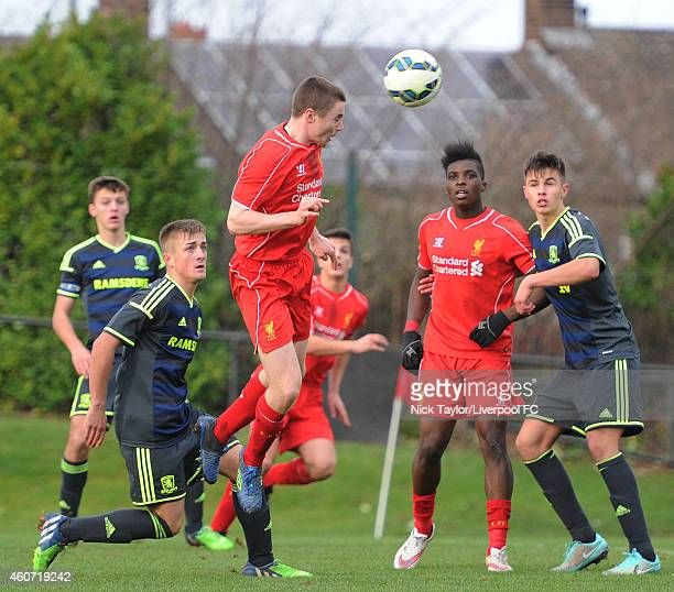 Jordan Rossiter of Liverpool heads the ball goalwards during the Barclays Premier League Under 18 fixture between Liverpool and Middlesbrough at the...