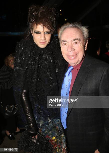 """Jordan Roth and Composer Andrew Lloyd Webber pose at the after party for The World Premiere of the new film """"Cats"""" based on the Andrew Lloyd Webber..."""