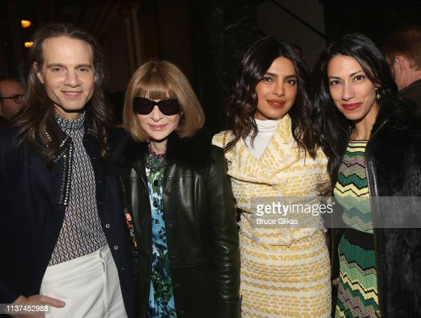 Jordan Roth Anna Wintour Priyanka Chopra and Huma Abedin at the opening night of the play Burn This on Broadway at The Hudson Theatre on April 15...