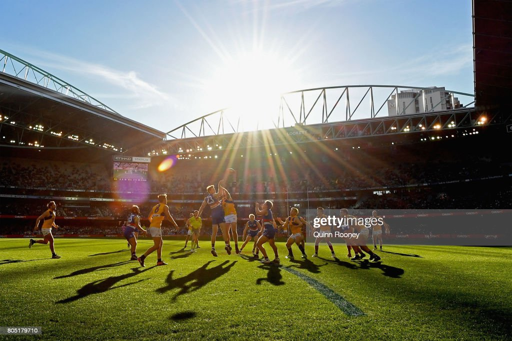 Jordan Roughead of the Bulldogs and Jeremy McGovern of the Eagles compete in the ruck during the round 15 AFL match between the Western Bulldogs and the West Coast Eagles at Etihad Stadium on July 1, 2017 in Melbourne, Australia.