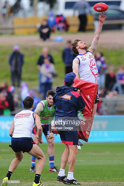 Jordan Roughead of the Bulldogs competes for the ball during the Western Bulldogs AFL media opportunity and training session at Whitten Oval on...
