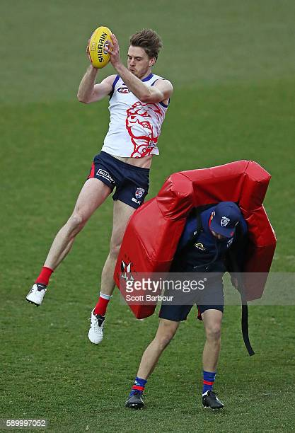 Jordan Roughead of the Bulldogs marks the ball during a Western Bulldogs AFL training session at Whitten Oval on August 16 2016 in Melbourne Australia