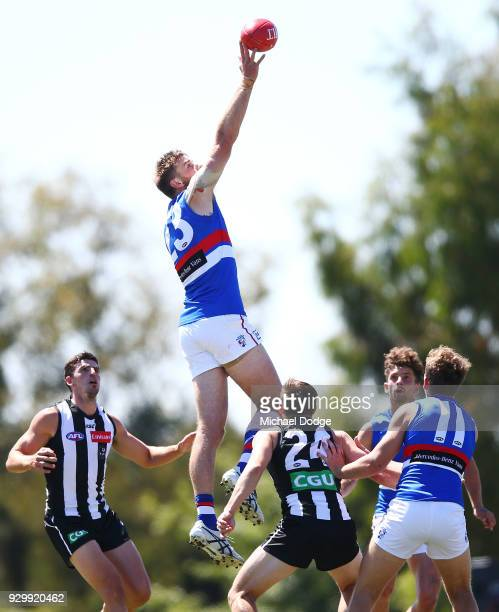 Jordan Roughead of the Bulldogs taps the ball during the JLT Community Series AFL match between Collingwood Magpies and the Western Bulldogs at Ted...