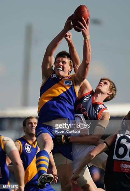 Jordan Roughead of the Seagulls marks the ball during the round 11 VFL match between Williamstown Seagulls and the Casey Scorpions at Burbank Oval on...