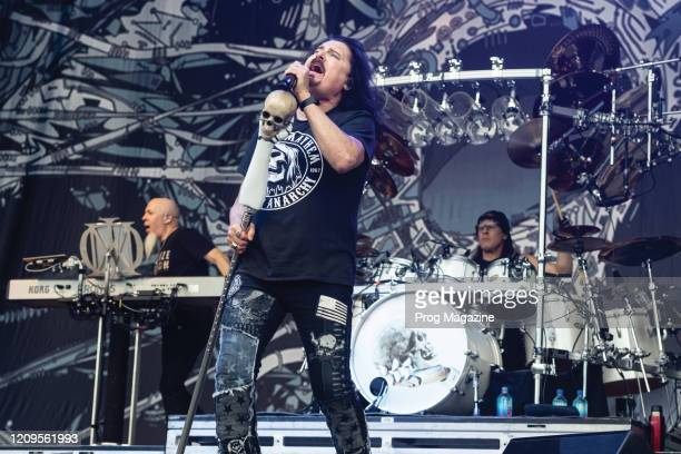 Jordan Rudess James LaBrie and Mike Mangini of progressive metal group Dream Theater performing live on stage during Download Festival at Donington...
