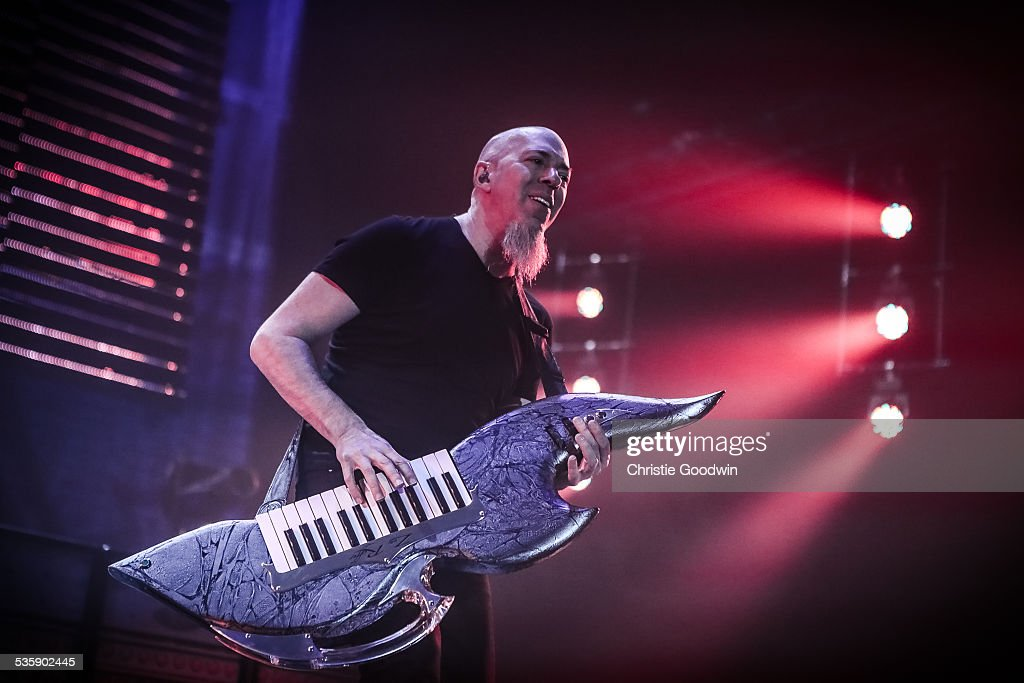 Jordan Rudess of Dream Theater performs at Wembley Arena on February 14, 2014 in London, England. He is playing a keytar.