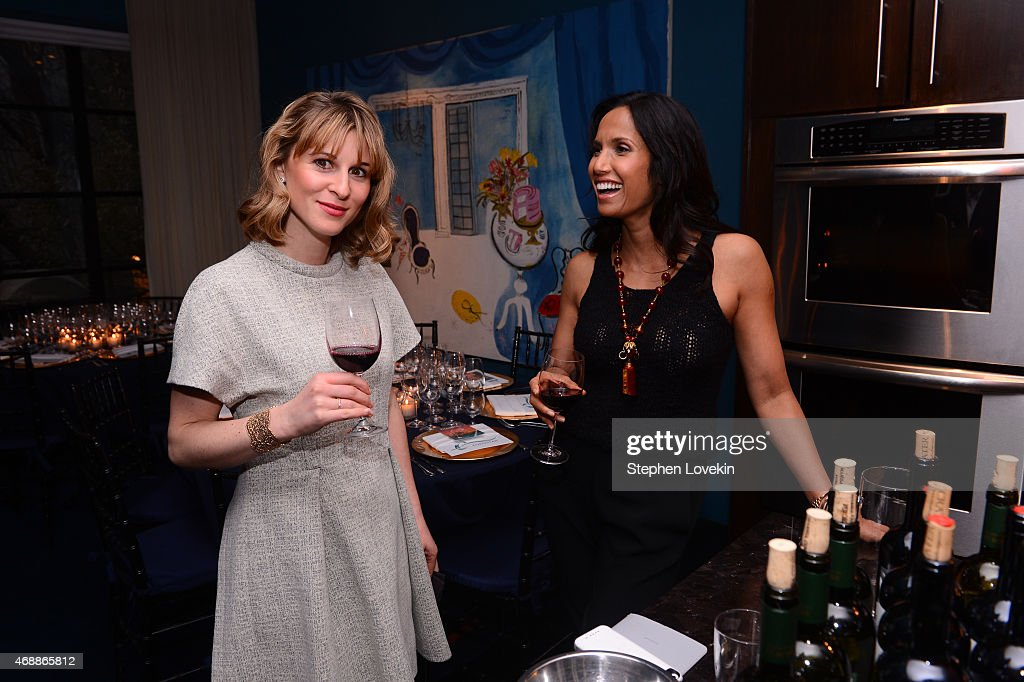 Jordan Salcito (L) and Padma Lakshmi pose as Padma Lakshmi celebrates European travel with Airbnb on April 7, 2015 in New York City.