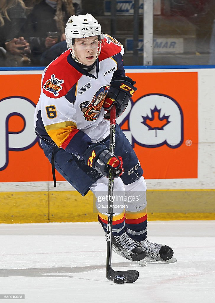 Jordan Sambrook #6 of the Erie Otters skates with the puck against the London Knights during an OHL game at Budweiser Gardens on January 27, 2017 in London, Ontario, Canada. The Otters defeated the Knight 5-3.