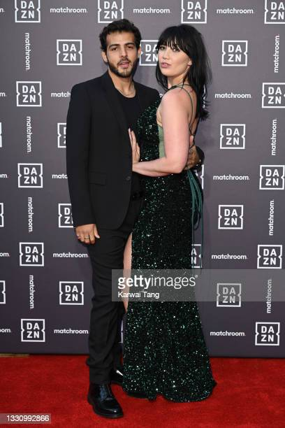 Jordan Saul and Daisy Lowe attend the Dazn x Matchroom VIP Launch Event at Kings Cross on July 27, 2021 in London, England.