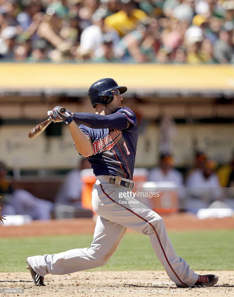 Jordan Schafer #1 of the Minnesota Twins bats against the Oakland Athletics at O.co Coliseum on August 10, 2014 in Oakland, California.