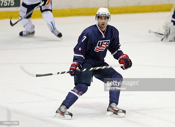 Jordan Schmaltz of the USA Blue Squad skates against Team Finland at the USA hockey junior evaluation camp at the Lake Placid Olympic Center on...
