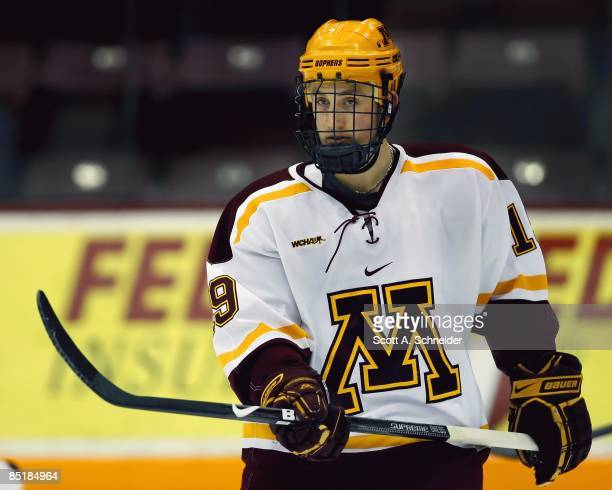 Jordan Schroeder of the Minnesota Gophers skates in warmups before a game with the Minnesota Duluth Bulldogs on February 27 2009 at Mariucci Arena in...