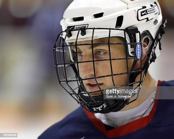 Jordan Schroeder of the US National Under18 Team skates in warmups before a game against the Minnesota Gophers October 27 2007 at Mariucci Arena in...