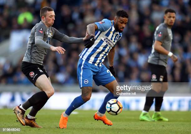 Jordan Shipley of Coventry City and Jurgen Locadia of Brighton and Hove Albion during the Emirates FA Cup Fifth Round match between Brighton and Hove...