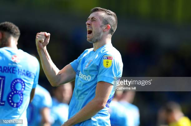 Jordan Shipley of Coventry City celebrates after he scores his sides first goal during the Sky Bet League One match between Oxford United and...