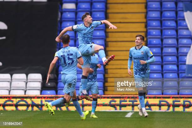 Jordan Shipley of Coventry City celebrates after scoring their side's first goal during the Sky Bet Championship match between Coventry City and...
