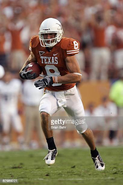 Jordan Shipley of the Texas Longhorns runs with the ball during the game against the Rice Owls on September 20 2008 at Darrell K RoyalTexas Memorial...