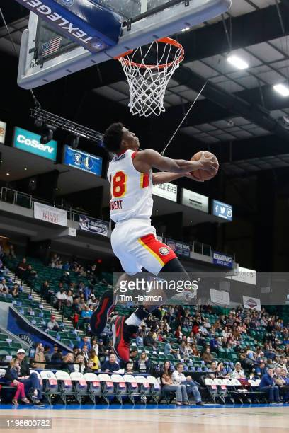 Jordan Sibert of the College Park Skyhawks attempts a dunk in the first quarter against the Texas Legends on January 26, 2020 at Comerica Center in...