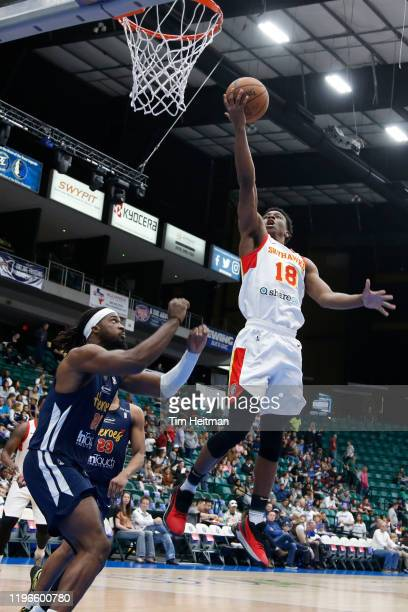 Jordan Sibert of the College Park Skyhawks drives to the basket against Chad Brown of the Texas Legends during the first quarter on January 26, 2020...