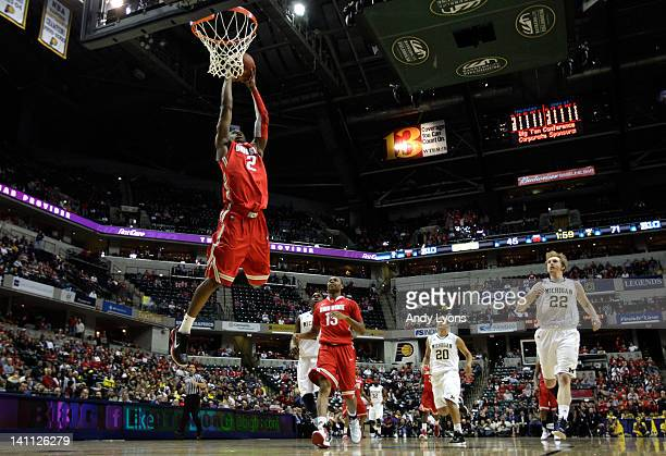 Jordan Sibert of the Ohio State Buckeyes dunks against the Michigan Wolverines during their Semifinal game of the 2012 Big Ten Men's Basketball...