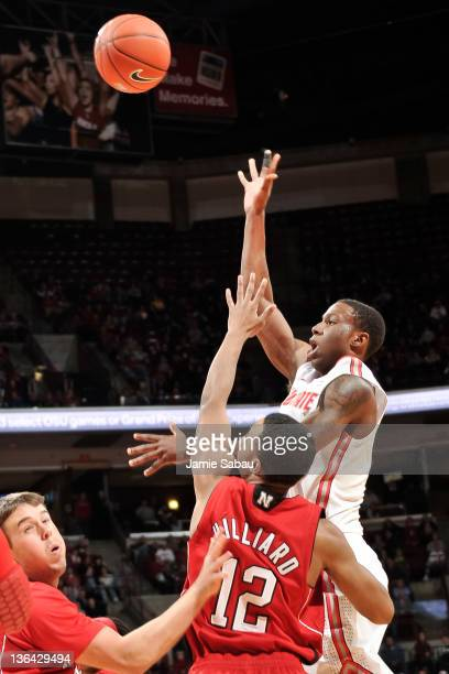 Jordan Sibert of the Ohio State Buckeyes shoots the ball against the Nebraska Cornhuskers on January 3 2012 at Value City Arena in Columbus Ohio